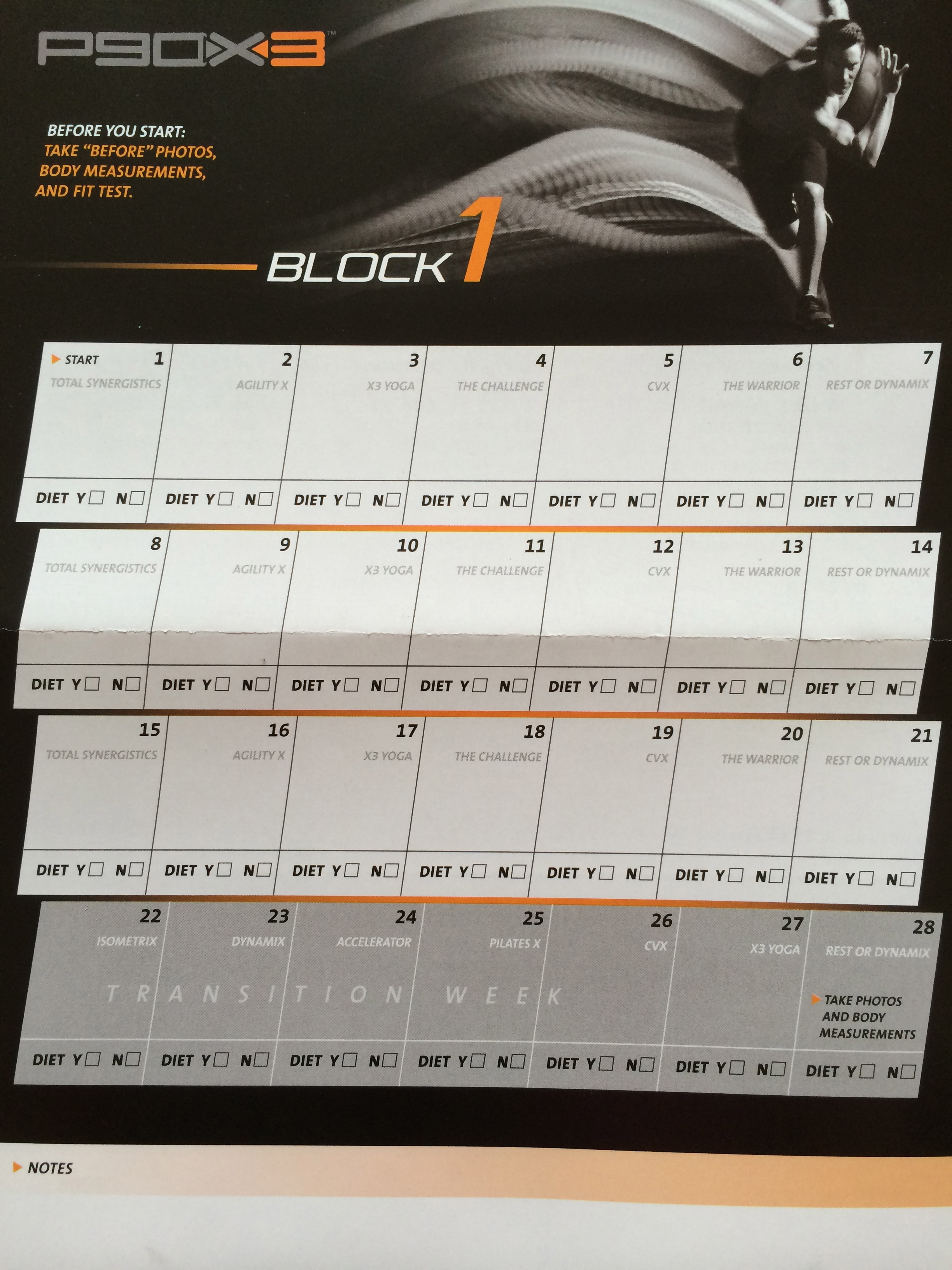 p90x3 month 1 review and calendar