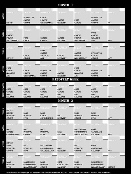 Calendar Review Worksheets : Insanity month review and calendar